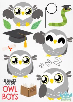 Owl Boys Clipart, Instant Download Vector Art, Commercial Use Clip Art, Cute