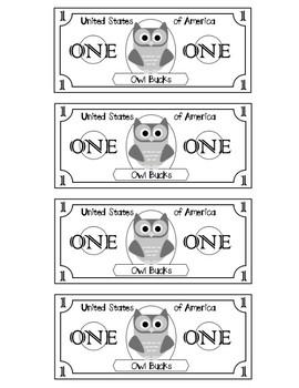 Owl Bucks for Classroom Economy System
