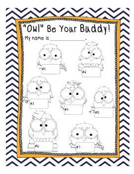 Owl Buddies - Great Way to Partner and Group Students