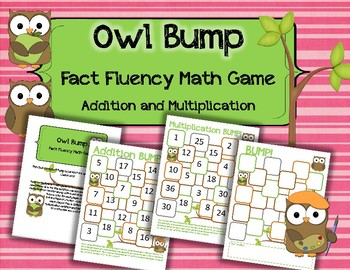 Owl Bump Addition and Multiplication: Fact Fluency Game and Center