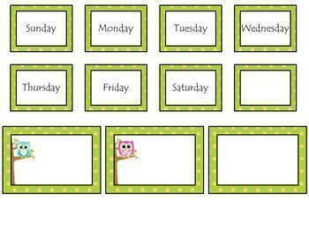 Owl Calendar Bulletin Board Set