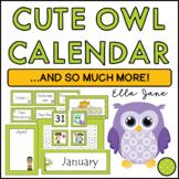 Owl Calendar Bulletin Board Set (Green Frame)