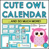 Owl Calendar Bulletin Board Set (Blue Frame)