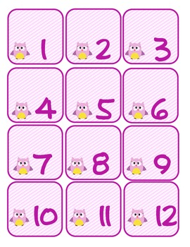 Calendar Days and Numbers--Pink Owl