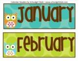 Classroom Decor Owl Calendar Headers