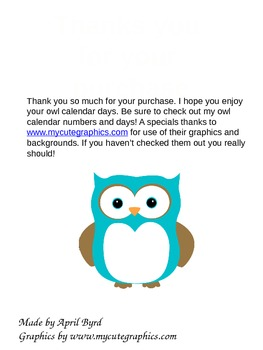 Owl Calendar Months