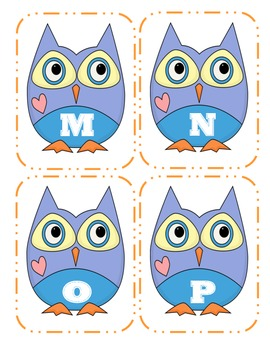Owl Capital Alphabet Flash Cards