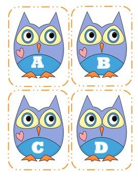 Owl Capital Alphabet Flash Cards