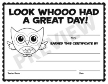 Owl Certificate - Look Whoo Had a Great Day!