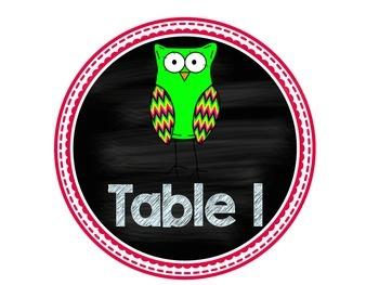 Owl Chalkboard Table Signs
