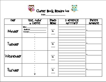 Owl Chapter Book Reading Log with Instructions for Families