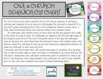 Owl & Chevron Behavior Clip Chart -Updated