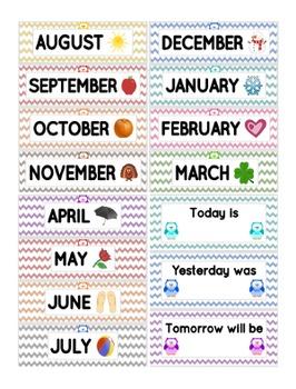 Owl Chevron Calendar Set