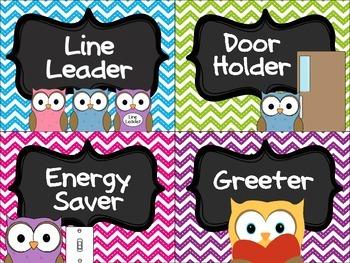 Owl & Chevron Classroom Job Cards