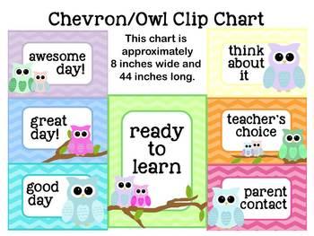 Clip Chart: Owl on Chevron
