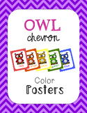 Owl Chevron Color Posters