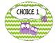 Owl & Chevron Lunch Chart-5 Choices