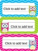 Owl & Chevron Name Plates {Editable}