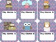 Owl Chevron Name Tags, Name Plates, Quick Picks, Numbers & Newsletter