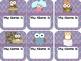 Owl Chevron Name Tags, Name Plates, Quick Picks, Numbers &