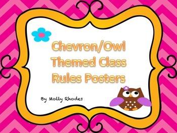 Owl Chevron Themed Class Rules