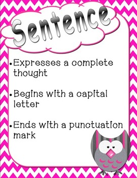 Owl & Chevron Themed Sentence Posters-Statement, Question, Exclamation, Command