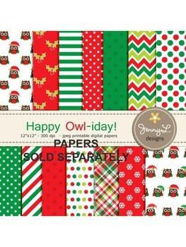 Owl Christmas Clipart, Stitched Owl, Tree Branch, Poinsettia Leaves, Owl Holiday