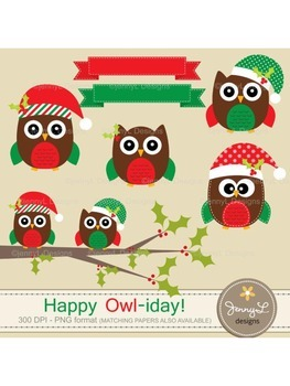 Owl Christmas Clipart, Stitched Owl, Tree Branch, Poinsett