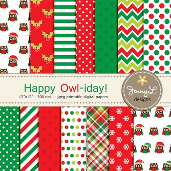 Owl Christmas Digital Paper, Stitched Owl Scrapbooking Paper, Holiday Paper