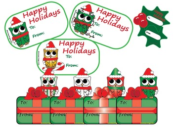Owls Christmas Gift Tags/Toppers