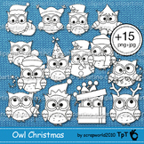 Owl Christmas clipart outlines