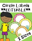 Owl Circle Labels **EDITABLE**