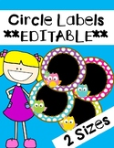 Owl Cirlce Labels **EDITABLE**