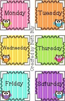 Owl Class Calendar Set
