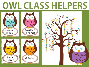 Owl class helpers chart and cards classroom jobs owls by little lotus