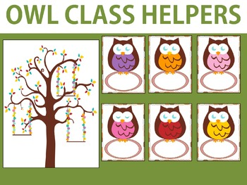 Owl Class Helpers Chart and Cards, Classroom Jobs Owls
