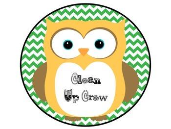 Owl Class Jobs Green and Pink Chevron