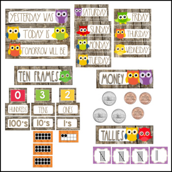 Owl Theme Classroom Calendar Helper with Primary Accents