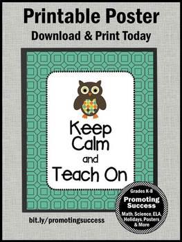 Keep Calm and Teach On, Owl Theme Classroom Decor, Teacher Gift