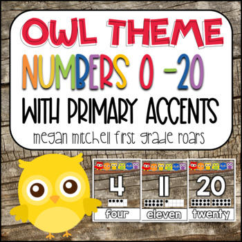 Owl Theme Classroom Numbers with Primary Colors