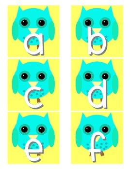 Owl Classroom Decor Set (yellow, gray and aqua)