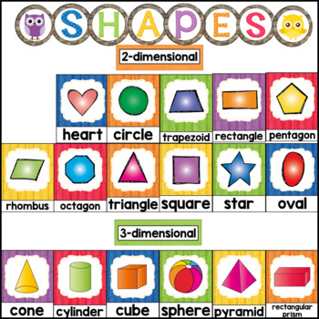 Owl Theme Classroom Shapes