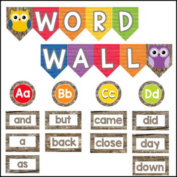 Owl Theme Classroom Word Wall with Primary Colors