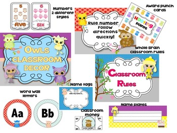 Owl Classroom Decoration kit mega bundle-Editable!