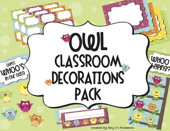 Owl Classroom Decorations Combo Pack