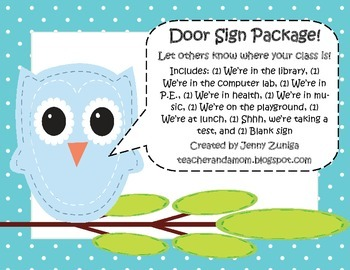 Owl Classroom Door Sign Package