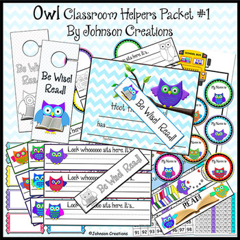 Owl Classroom Helpers Packet 1