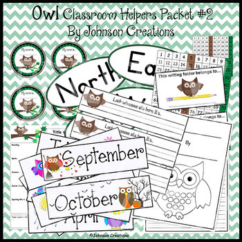 Owl Classroom Helpers Packet 2