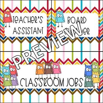 Classroom Job Cards (Owls)