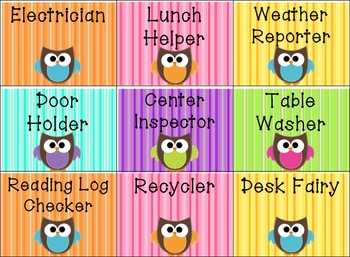 Owl Classroom Jobs By Second Grade Discoveries Tpt